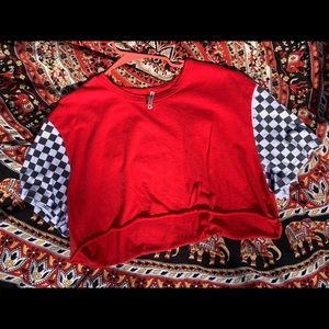 Red checkered sleeve crop top
